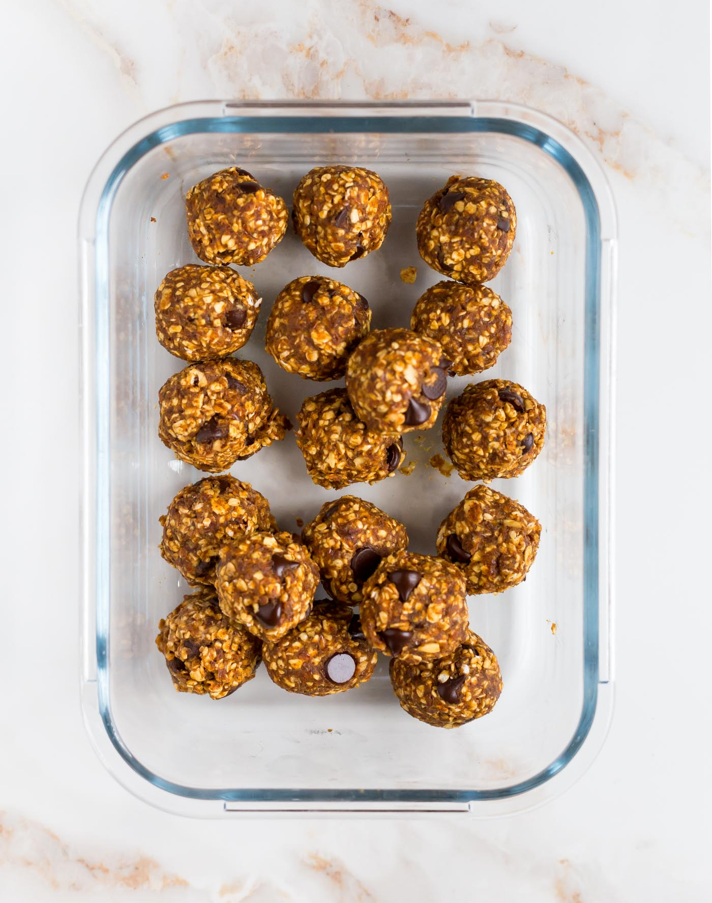 No bake pumpkin energy bites in a glass container