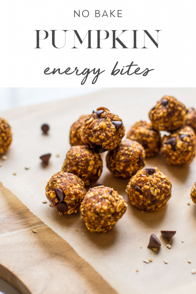 no bake pumpkin energy bites on wax paper on top of cutting board