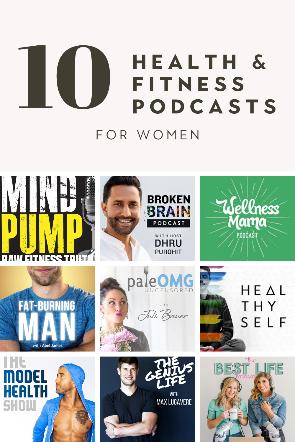 Images of nine different podcast with 10 health and fitness podcasts for women writing