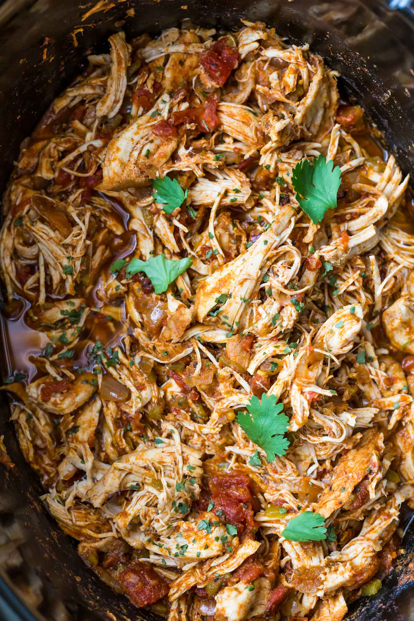 Shredded Mexican Chicken in slow cooker