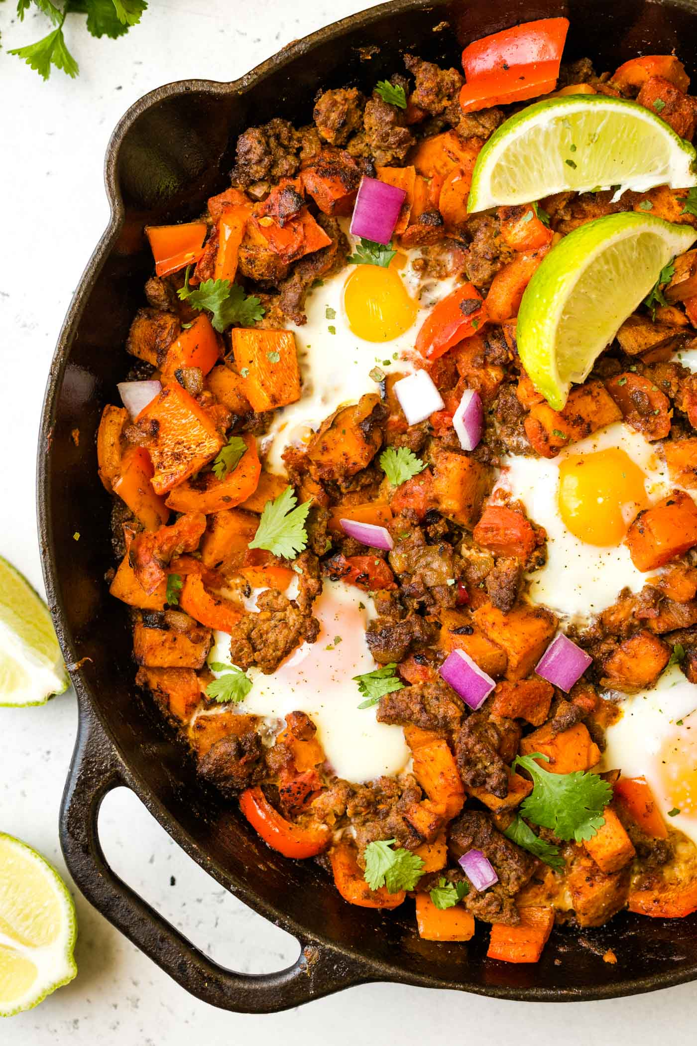 Sweet Potato Breakfast Hash with Sausage and Eggs