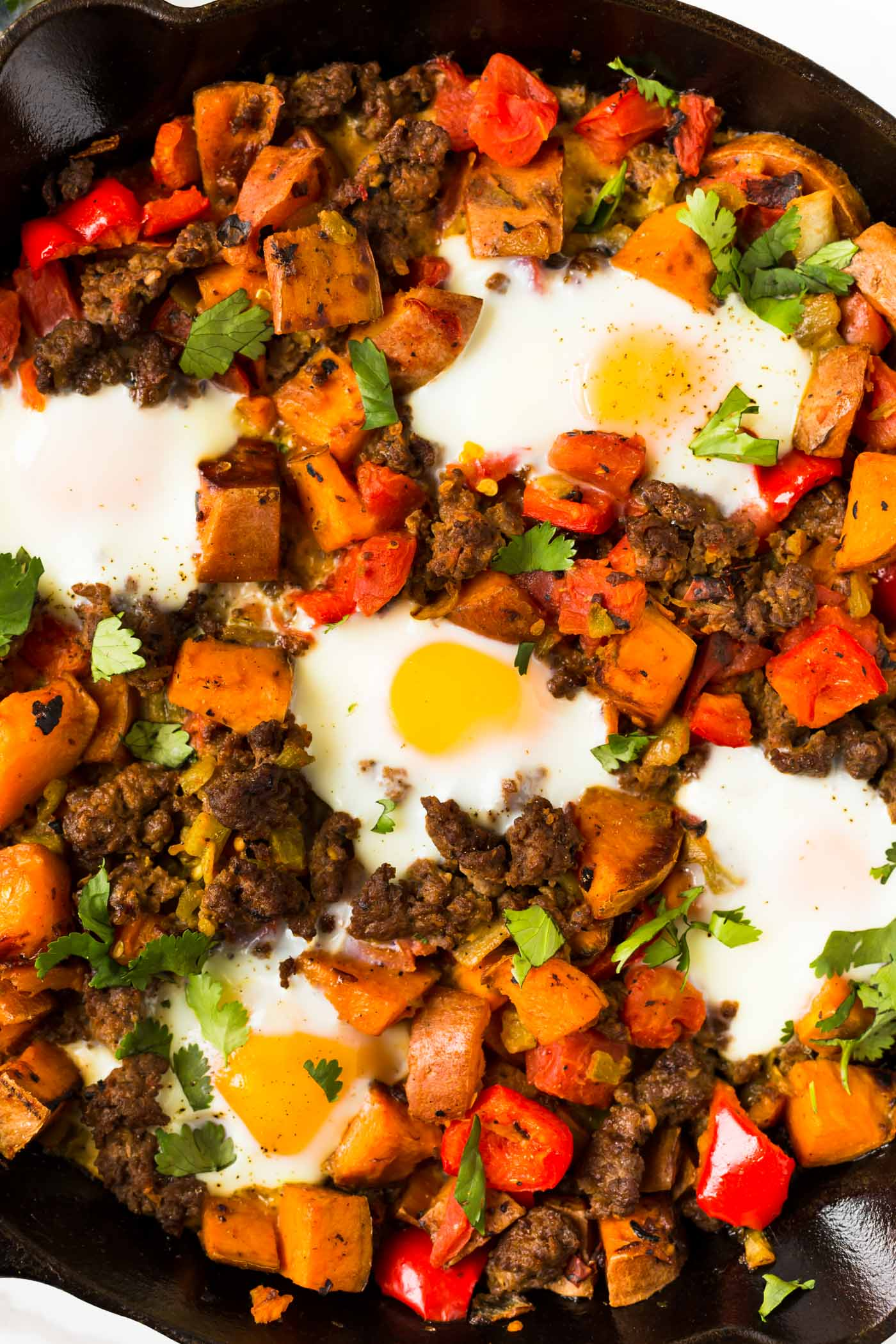 Sweet Potato Breakfast Hash with Sweet potato, sausage, eggs, bell pepper, diced tomatoes, diced green chiles and garnished with cilantro in cast iron skillet