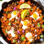 Whole30 Sweet Potato Hash in Cast Iron Skillet