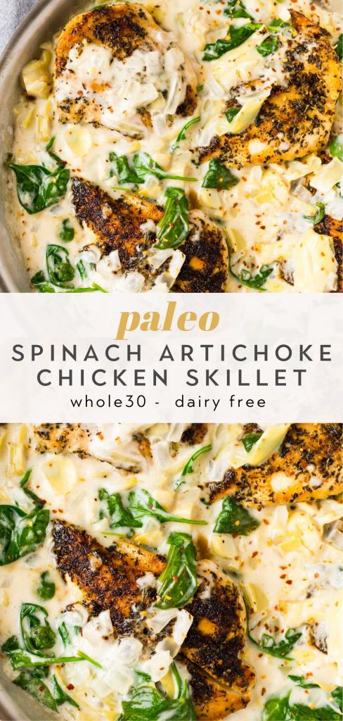 paleo spinach artichoke chicken skillet