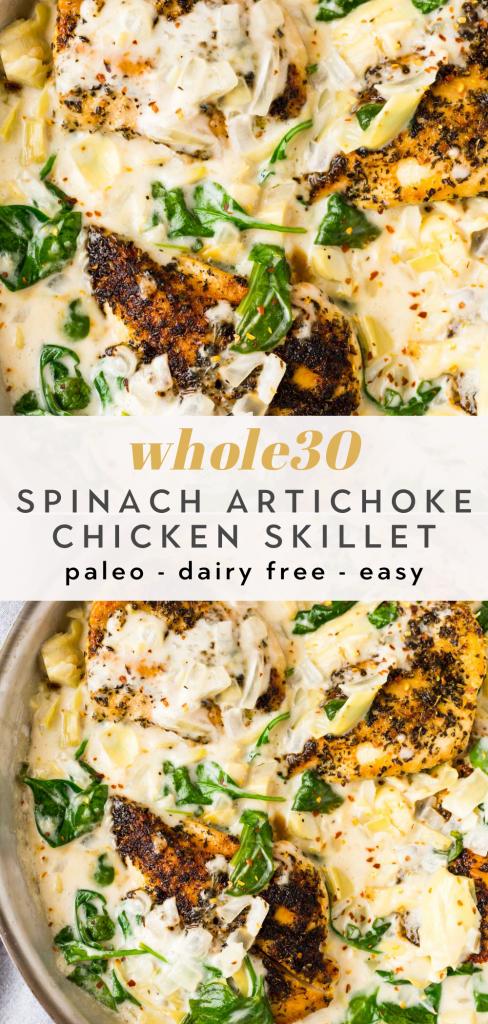 whole30 spinach artichoke chicken skillet
