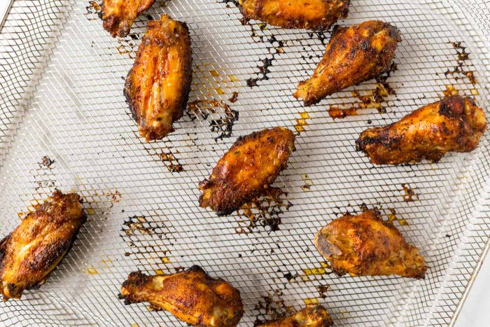 Crispy Air Fryer Chicken Wings on air fryer basket