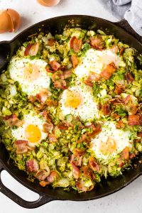 Brussels Sprouts Breakfast Hash with Bacon