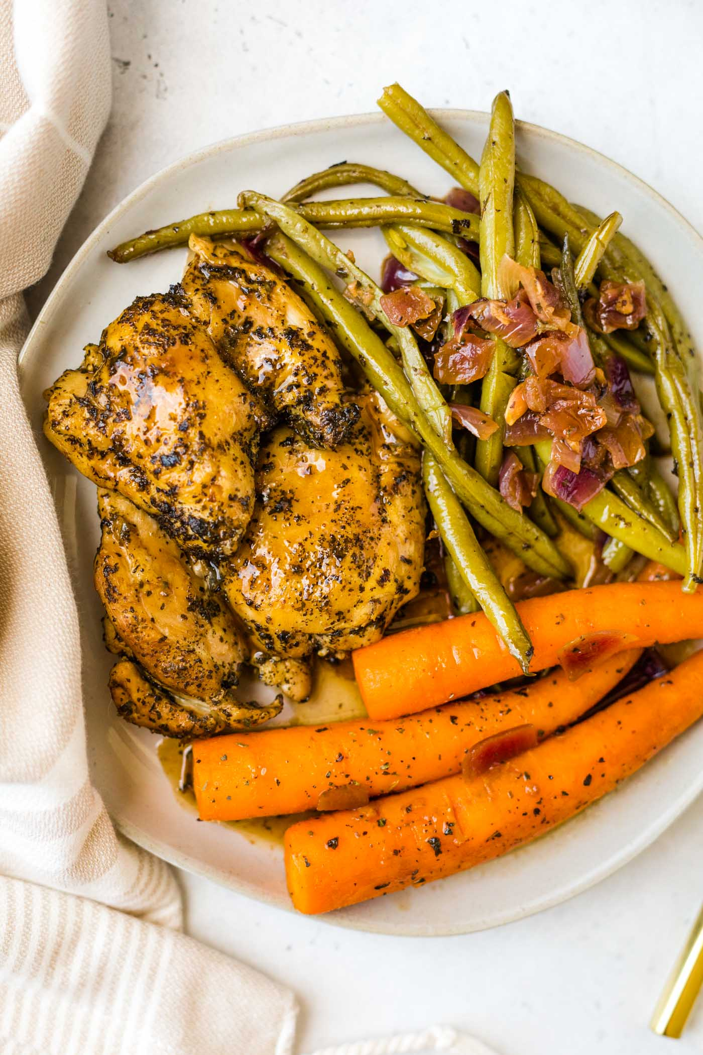 Instant Pot Balsamic Chicken with Green Beans and Carrots on white plate on white background