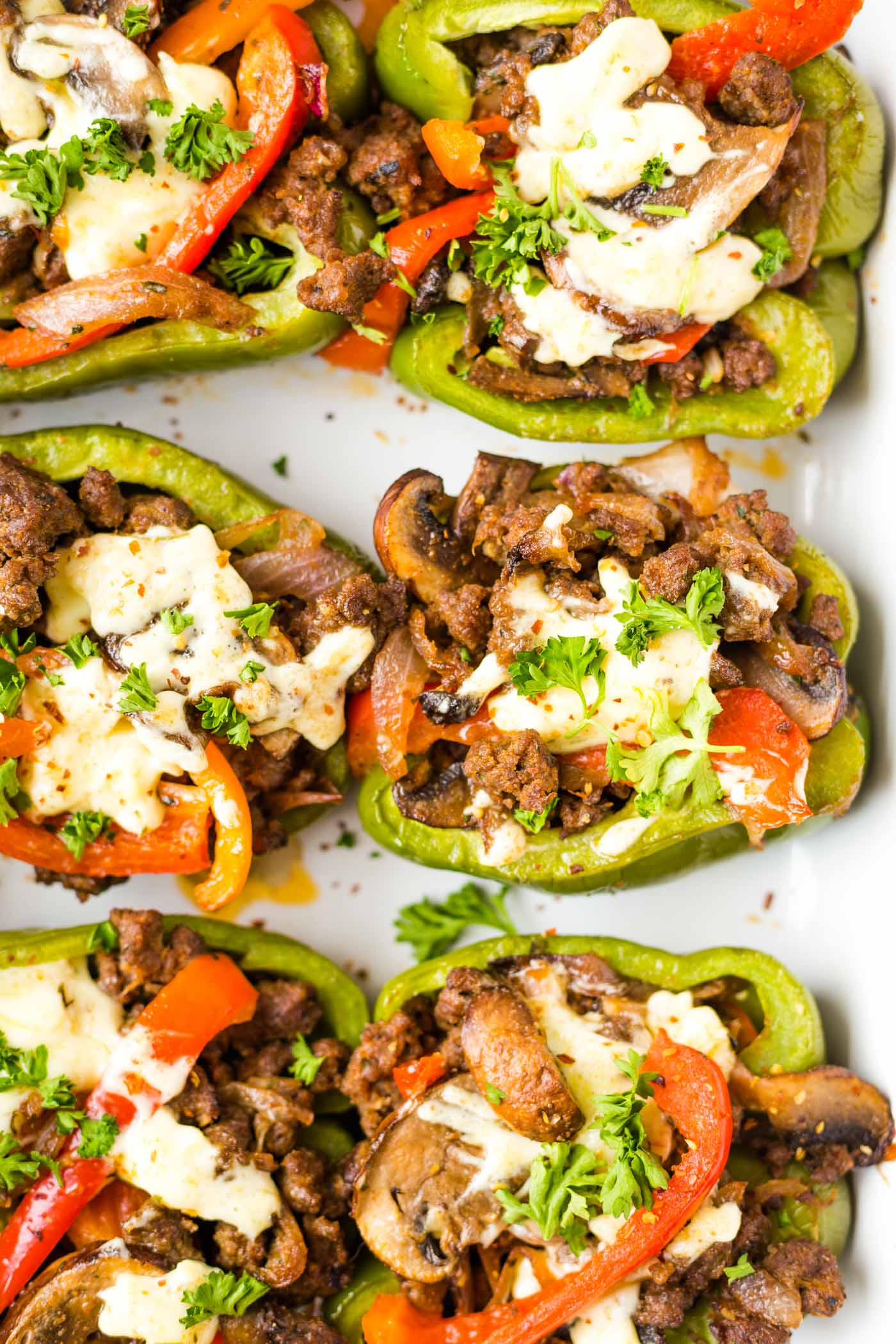 Philly Cheesesteak stuffed peppers with ground beef