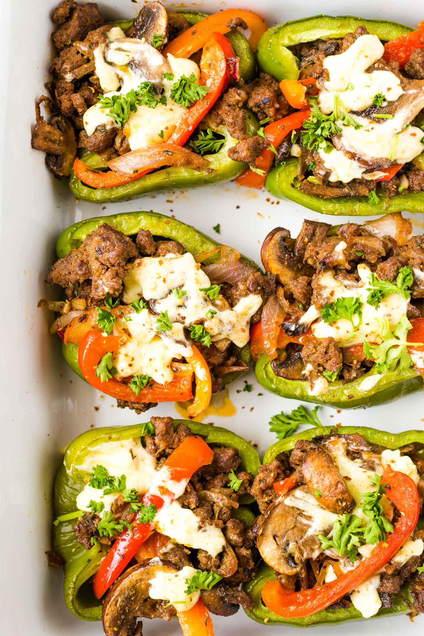 Six philly Cheesesteak Stuffed Peppers