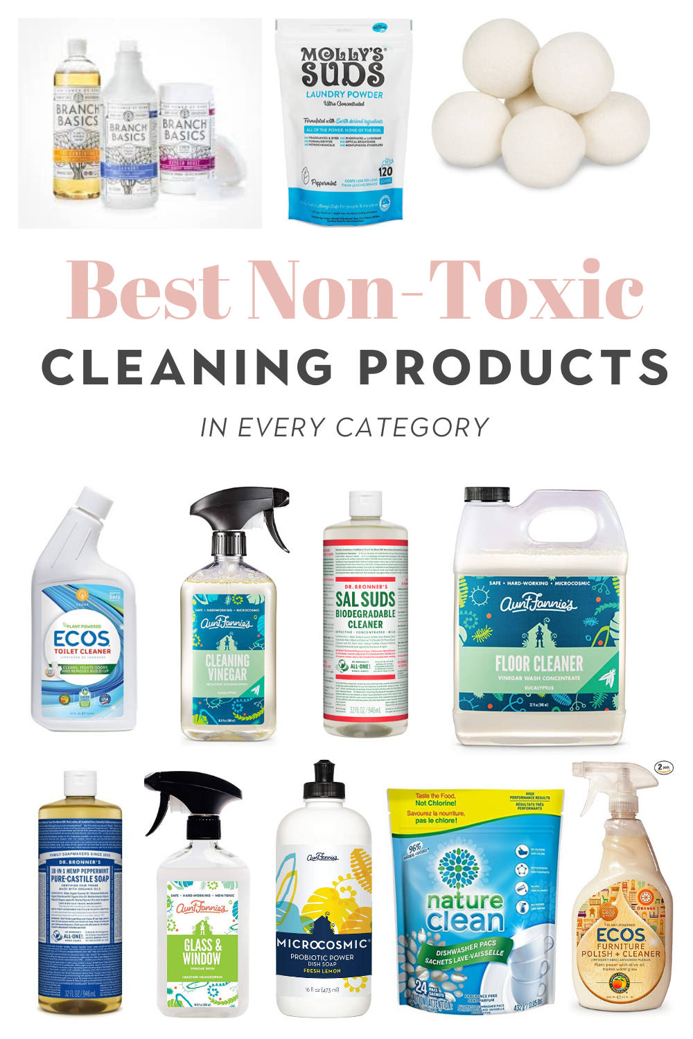 Best non-toxic bathroom, laundry, kitchen, floor, and all purpose cleaning products