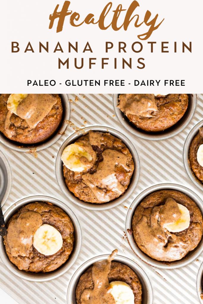 Banana Protein Muffins in muffin tin pan