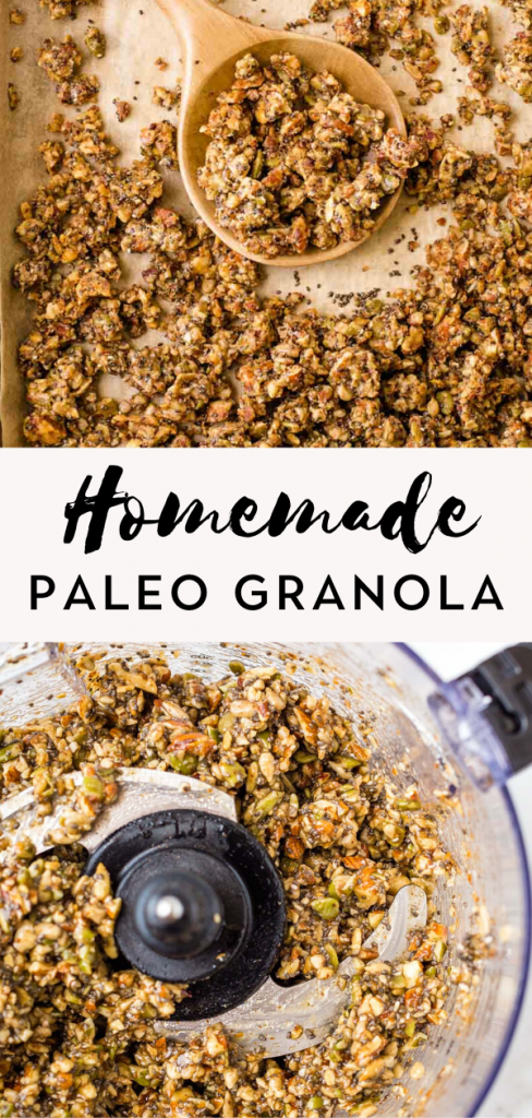 Homemade paleo granola on baking sheet and food processor