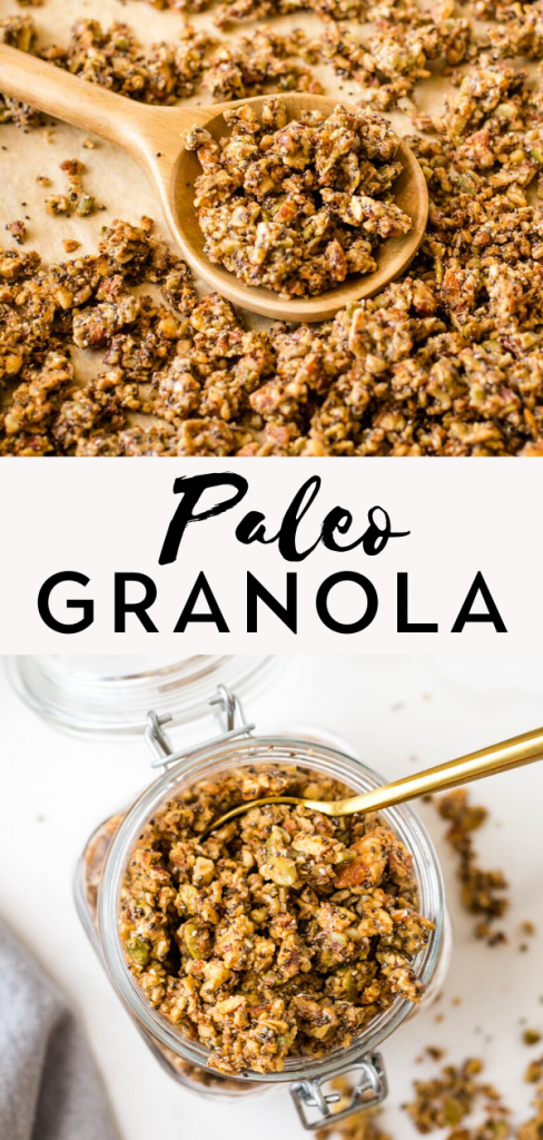 Paleo granola on baking sheet and mason jar