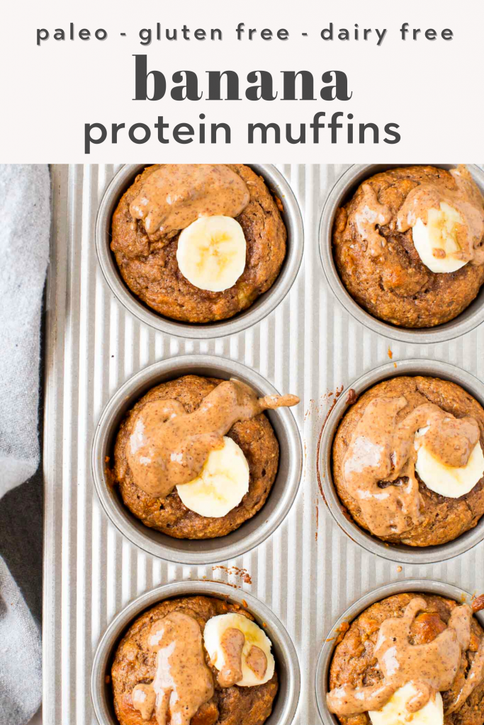 protein muffins topped with banana in muffin tin