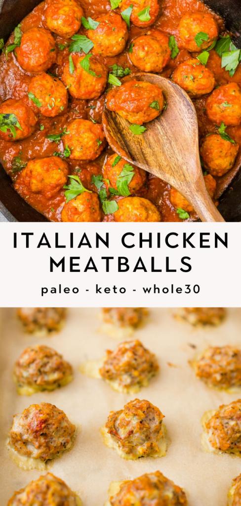 Baked Italian Paleo Chicken Meatballs