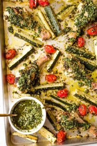 Sheet Pan Pesto Chicken and Veggies (Paleo, Whole30, Keto)