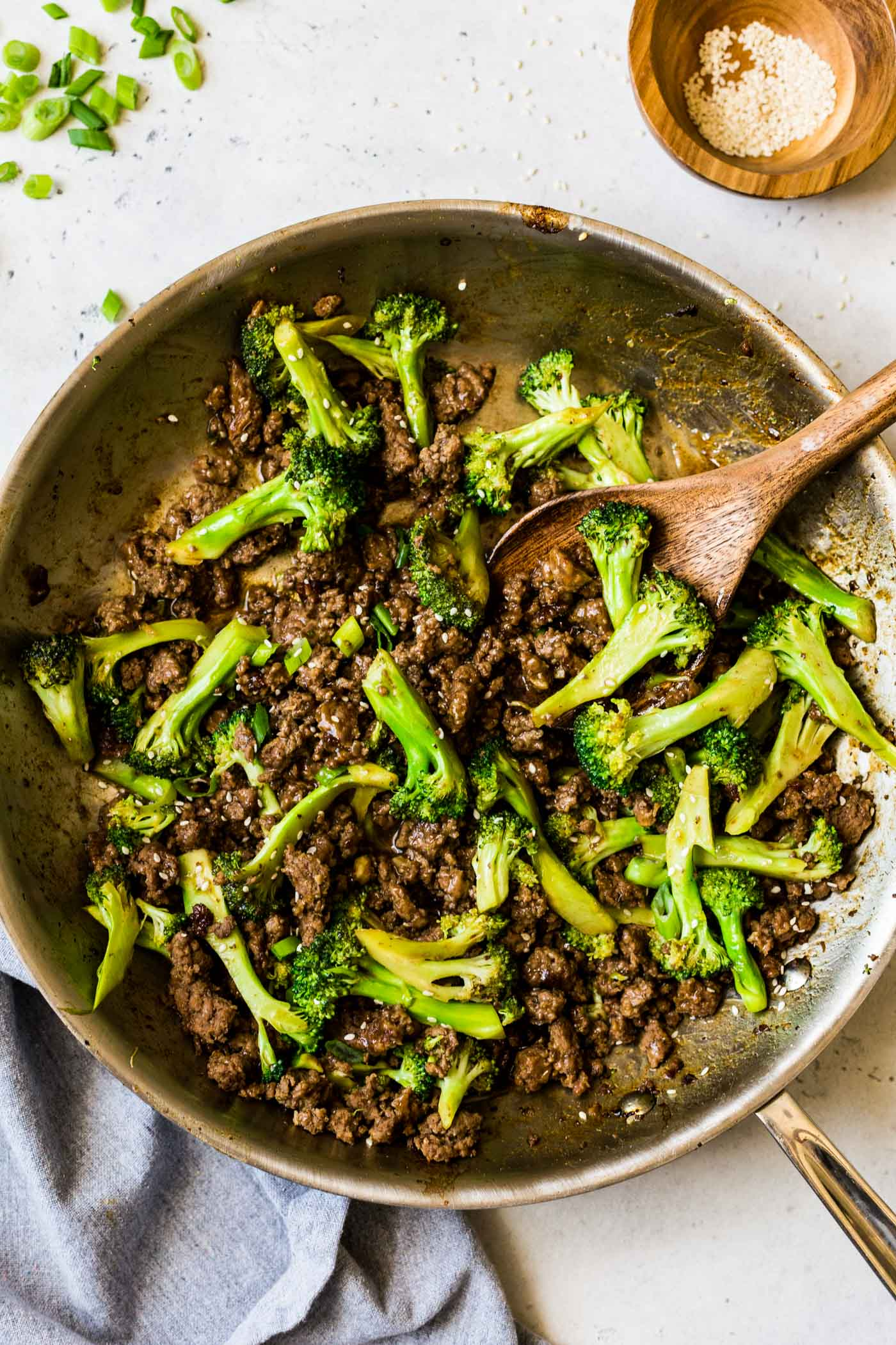 Ground Beef and Broccoli in Skillet