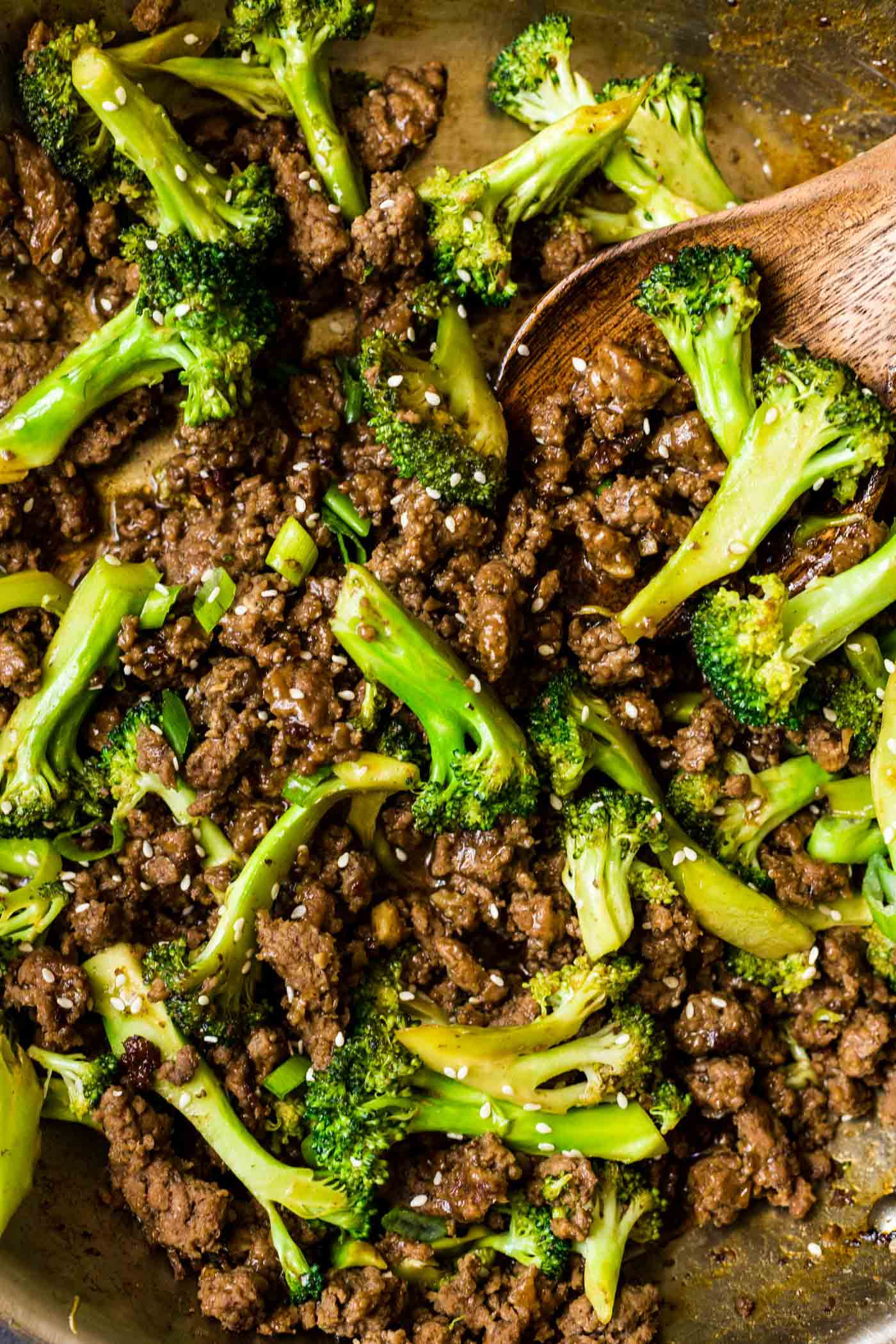 Ground beef broccoli in skillet
