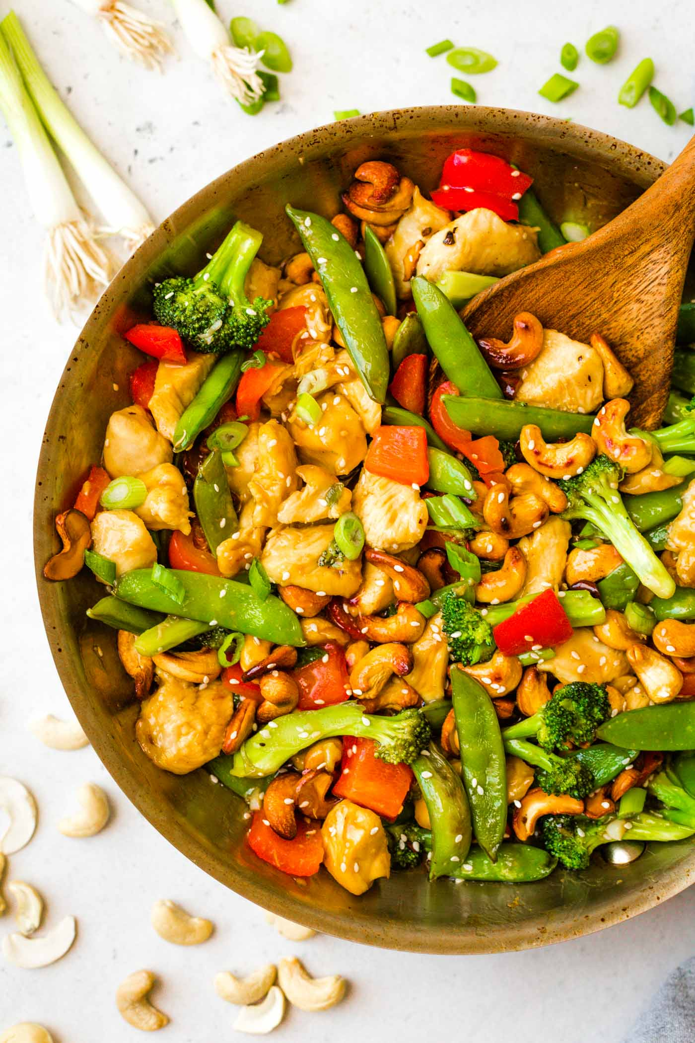 Paleo Cashew Chicken in skillet