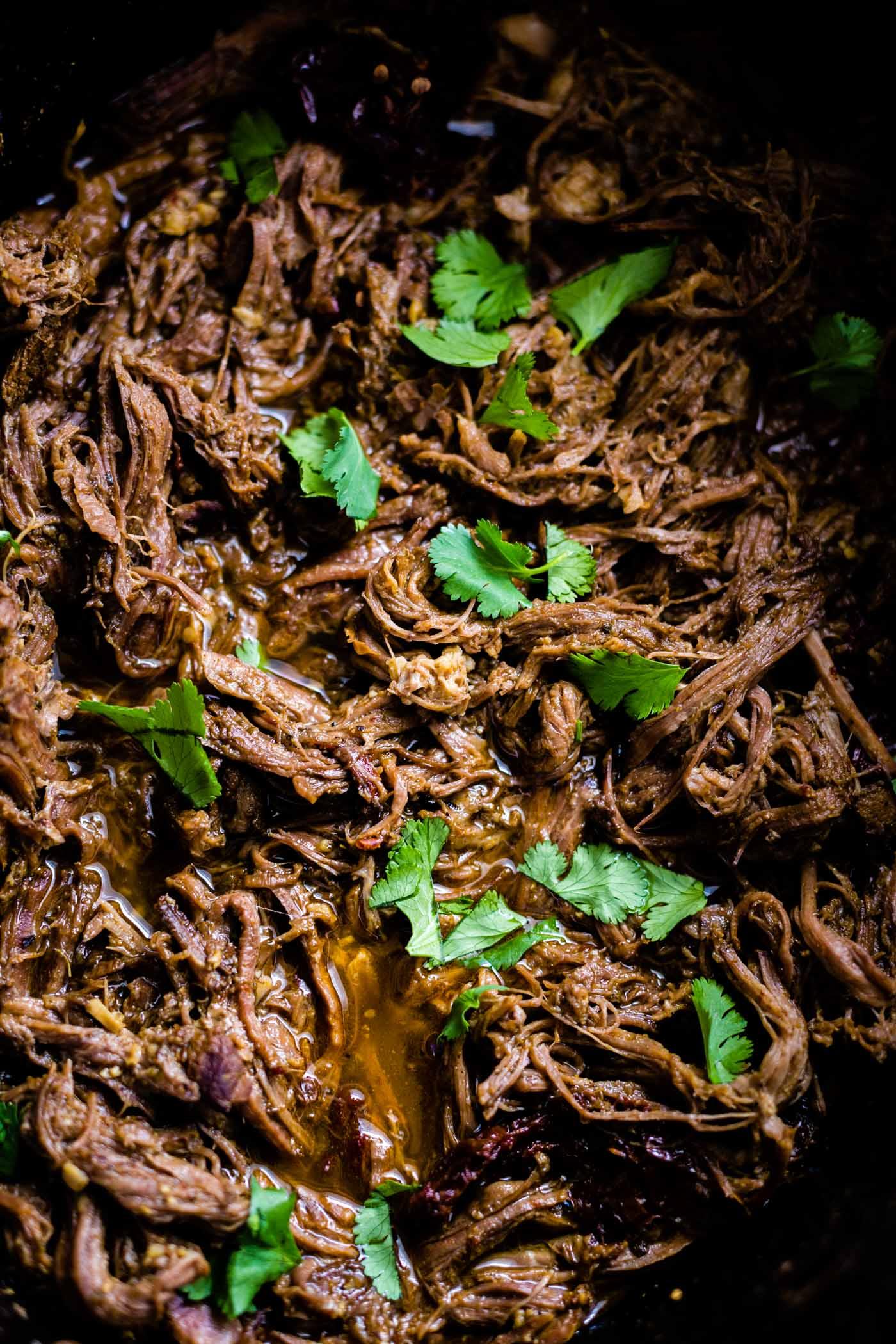 Paleo beef barbacoa in slow cooker