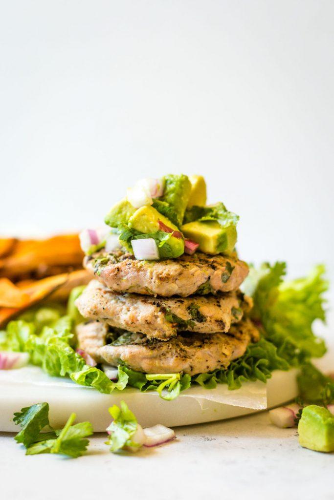Cilantro Lime Chicken Burgers with avocado salsa
