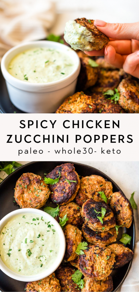 Paleo spicy chicken zucchini poppers