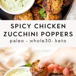 Spicy chicken zucchini poppers