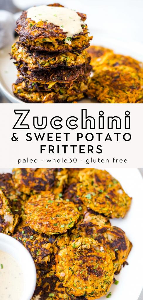 paleo zucchini and sweet potato fritters