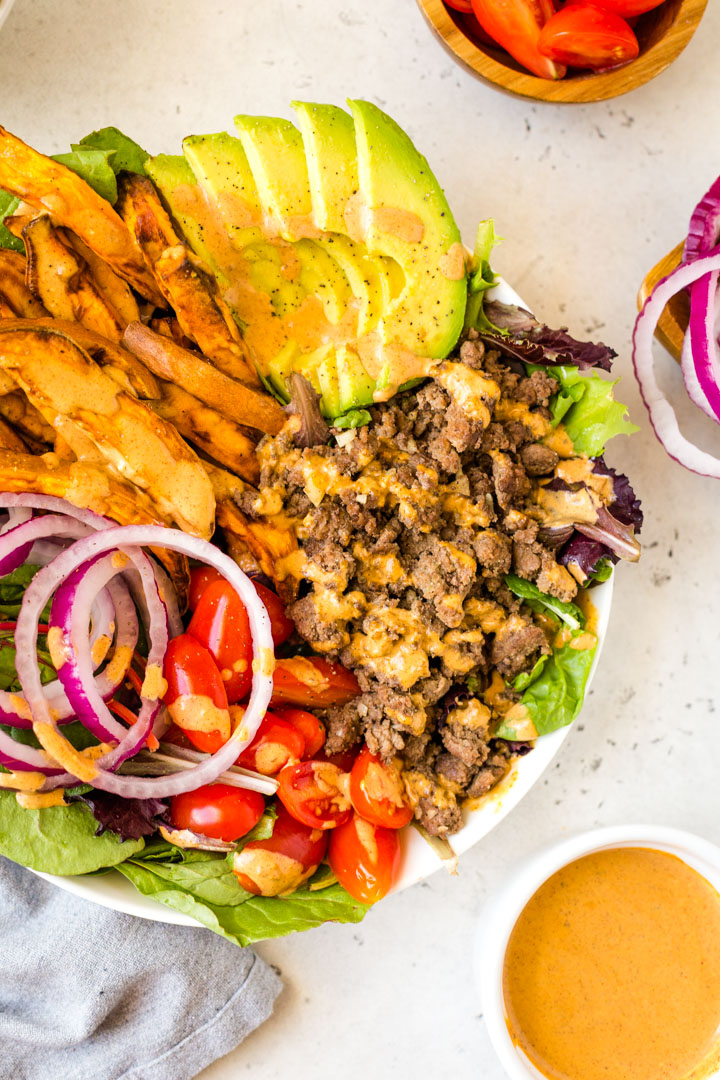 Healthy burger bowl