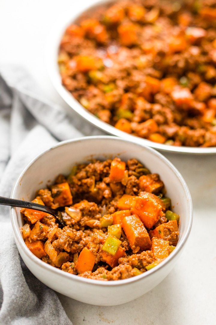 sloppy joe and sweet potato mixture in bowl and in skillet