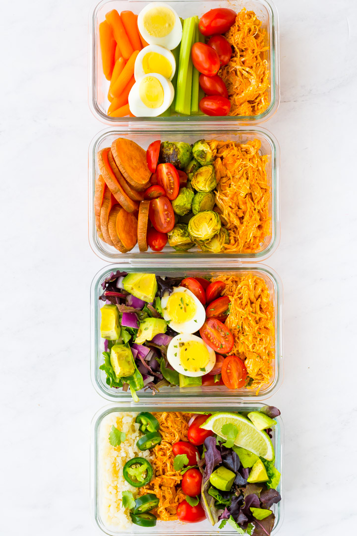 Four different buffalo chicken meal prep dishes