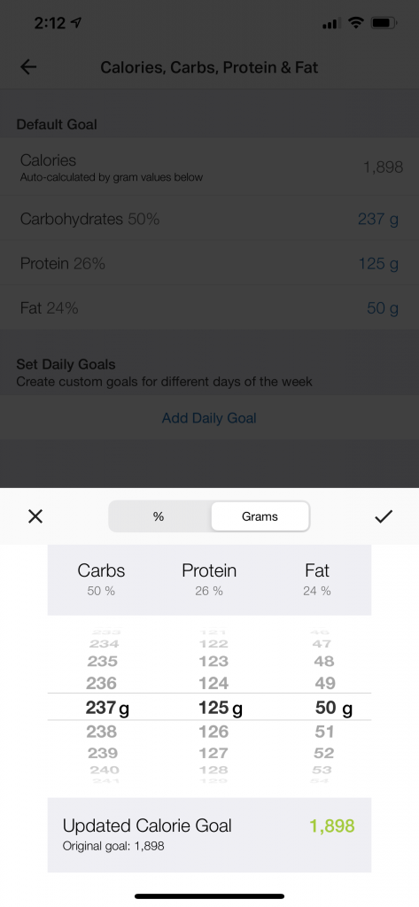 carbs, protein, and fat percentages in MyFitnessPal