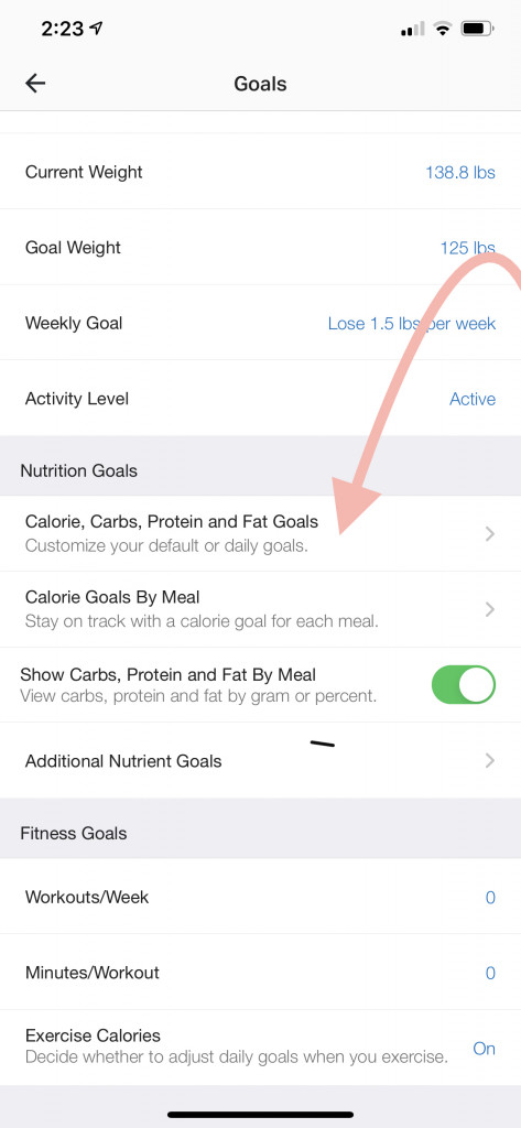 select calorie, carbs, protein, and fat goals