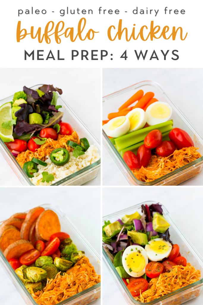 healthy buffalo chicken meal prep 4 ways