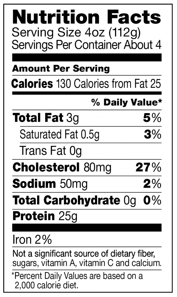 Nutrition facts for boneless skinless chicken breast