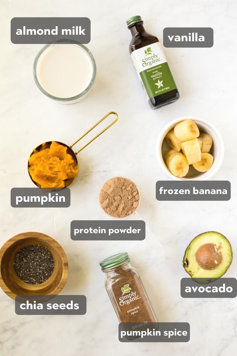 ingredients to pumpkin banana smoothie