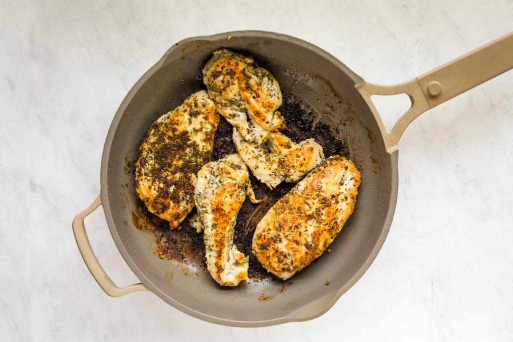 pan fried chicken breast in skillet