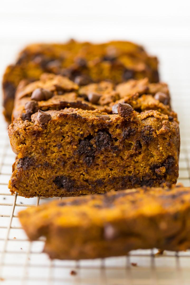 sliced chocolate chip paleo pumpkin bread